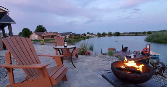 Enjoying the Firepit alongside the lake