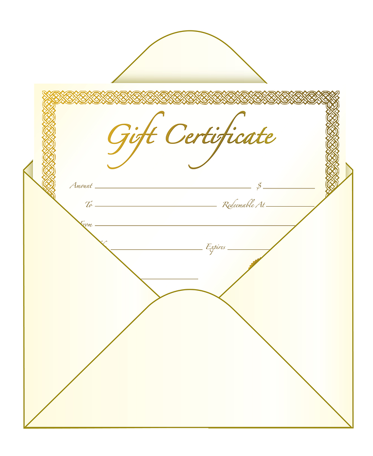 Gift certificate in an envelope